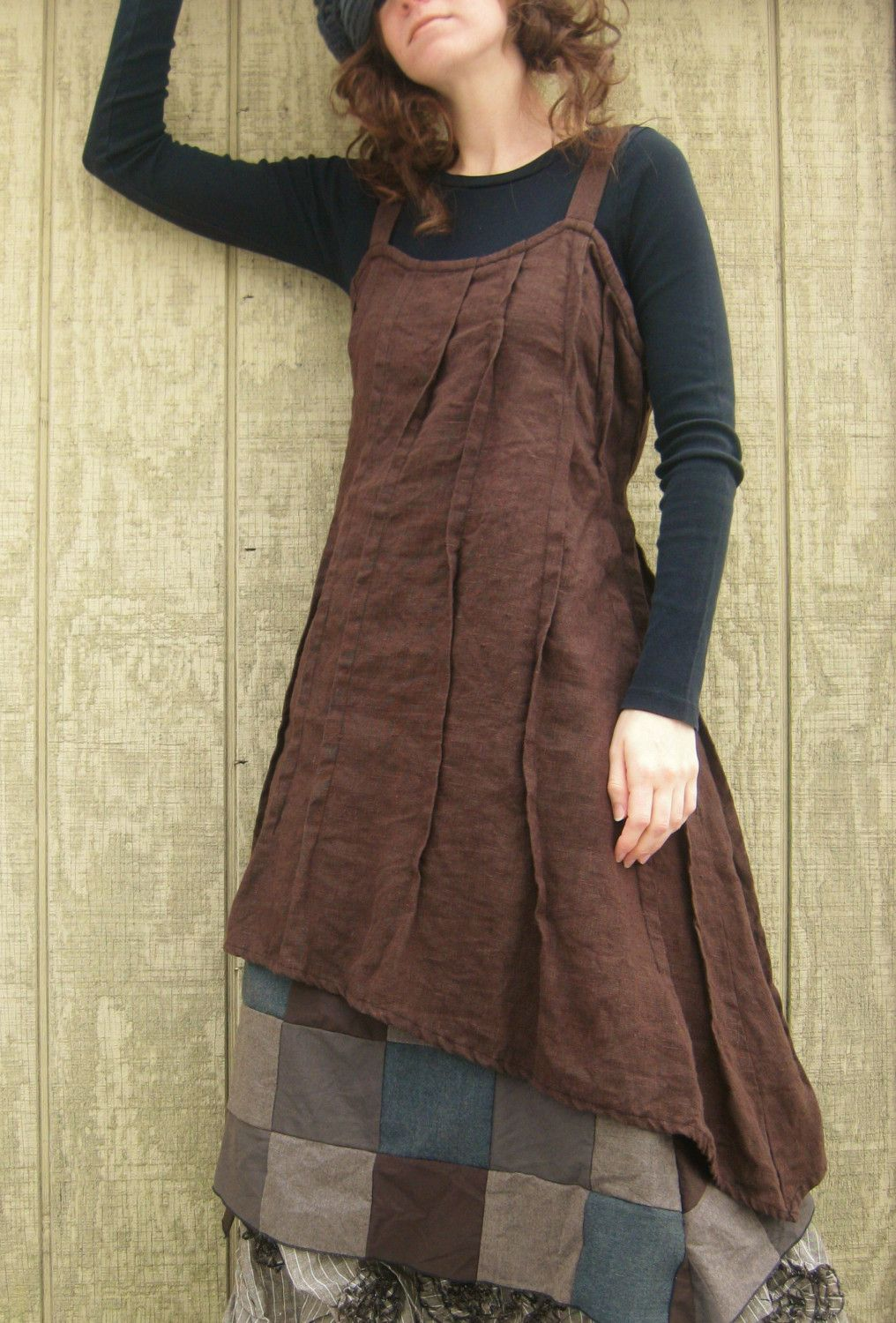 Brown Linen Slant Dress reserved for voxxx by sarahclemensclothing, $99.00