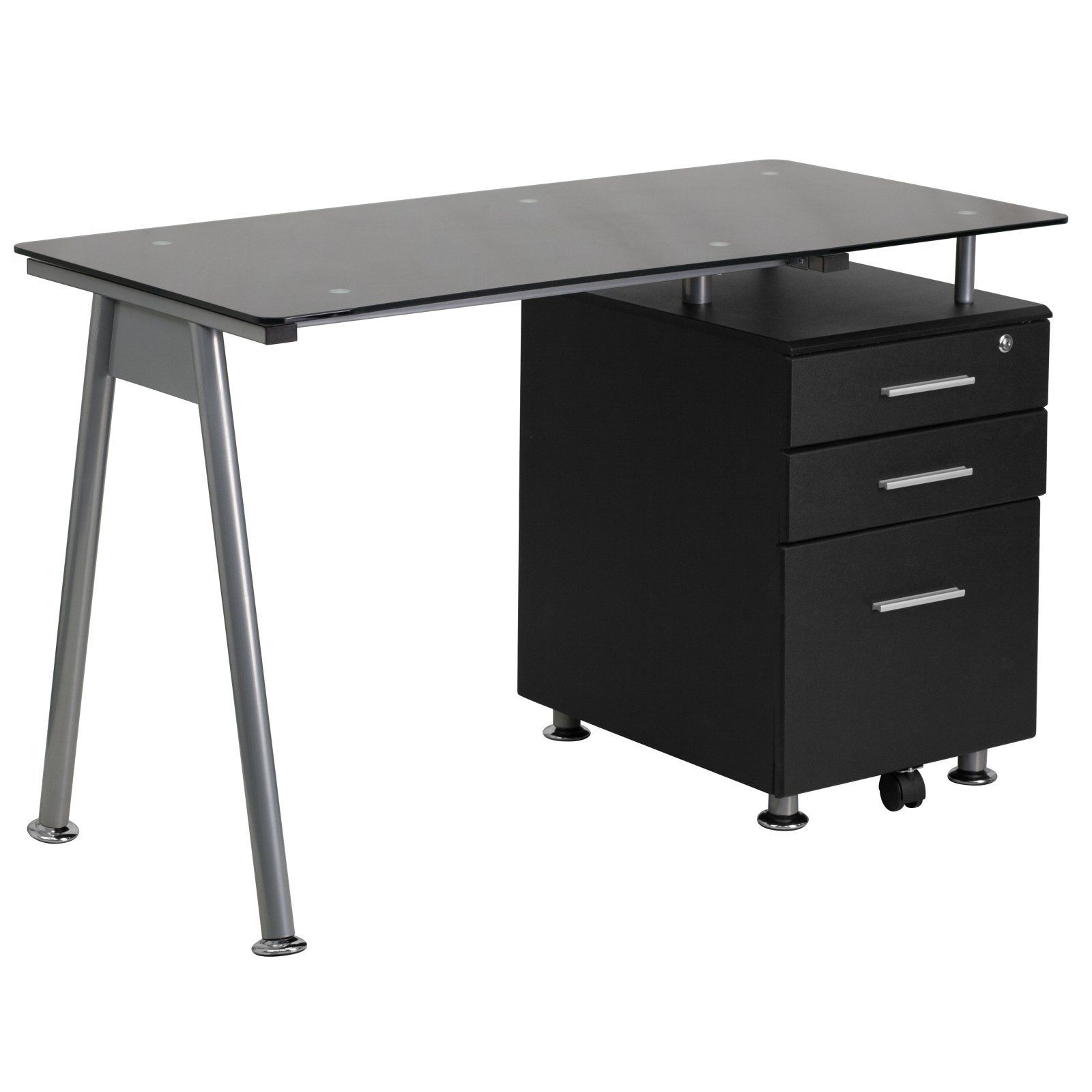 Flash Furniture Black Glass Computer Desk With Three Drawer Pedestal Glass Computer Desks Black Computer Desk Black Glass Computer Desk