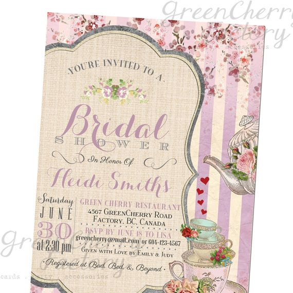 Bridal Tea Party Invitation Afternoon Tea By Greencherryfactory