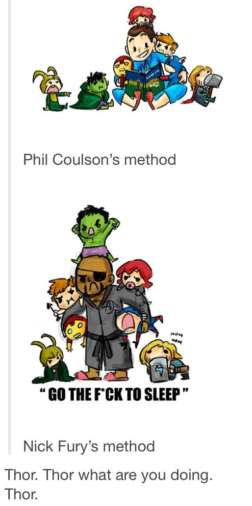 Putting the Avengers to bed!!! It's funny because Coulson's reading