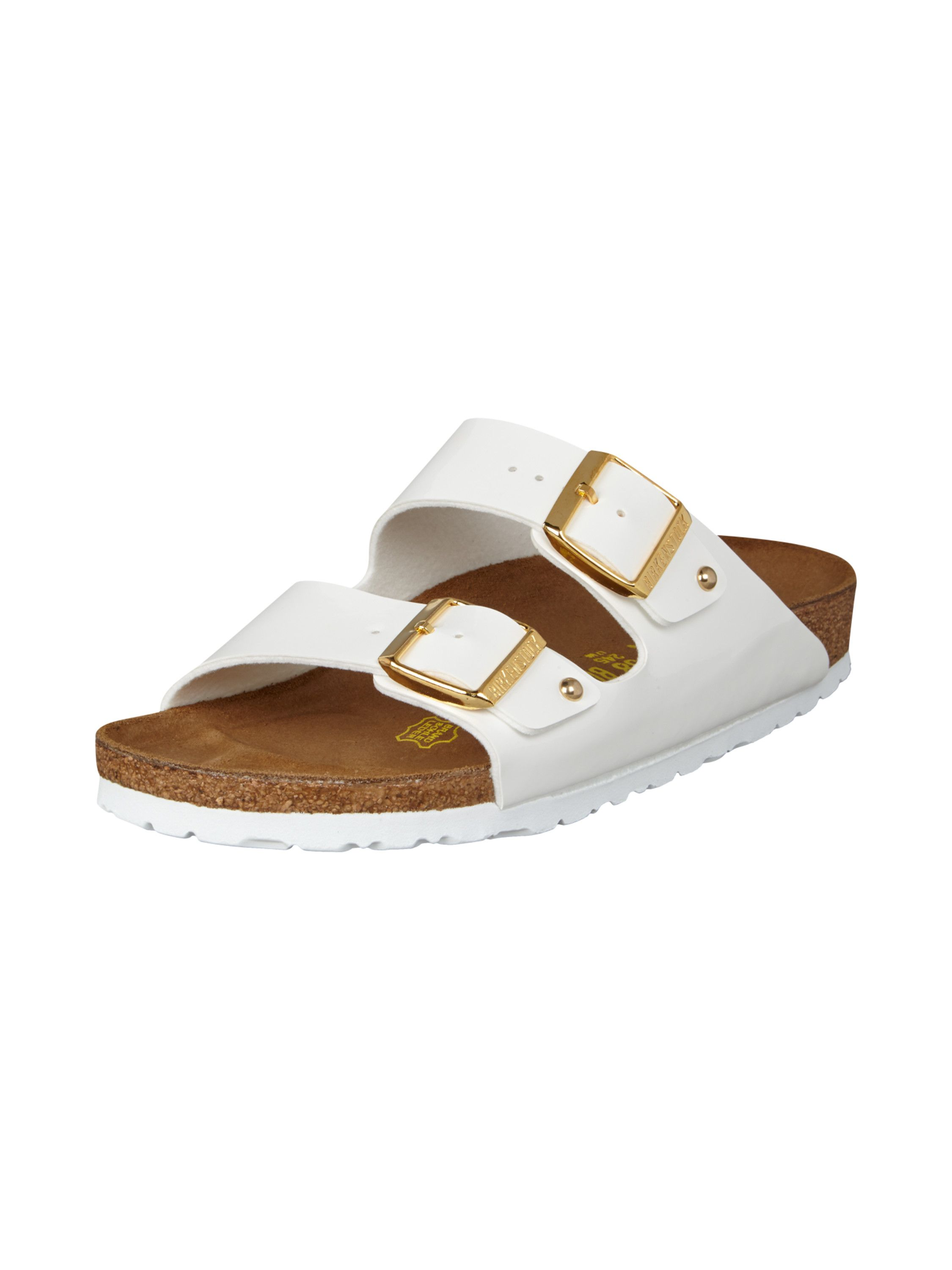 BIRKENSTOCK Sandalen mit Riemen in Lackleder Optik in Weiß