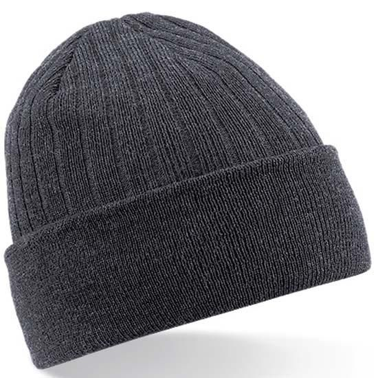 Thinsulate Peaked Knitted Grey Beanie Hat Winter Hat One Size