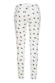 Zwart wit joggingbroek met vogel print