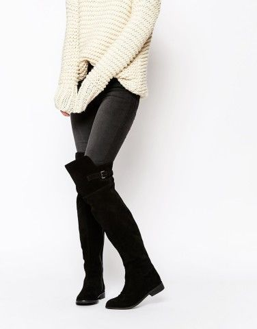 ASOS KOWTOW Wide Fit Leather Over The Knee Boots at