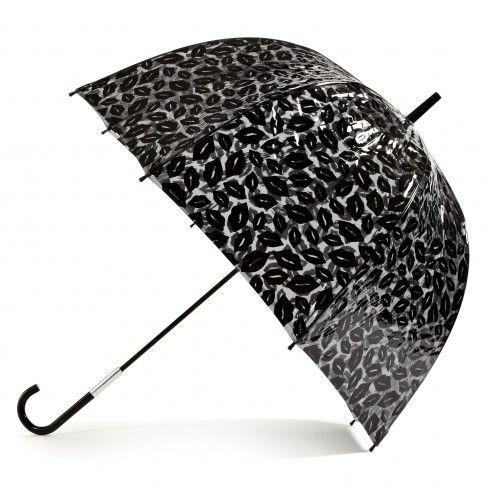 My Saviour on a Rainy Day! - Black Lips Birdcage Umbrella | Totes | Handbags | Lulu Guinness |