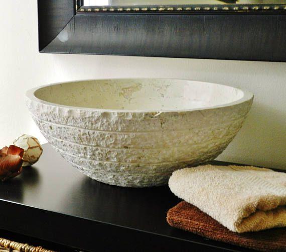 Natural Stone Vessel Sink Cream BeigeTravertine marble rustic