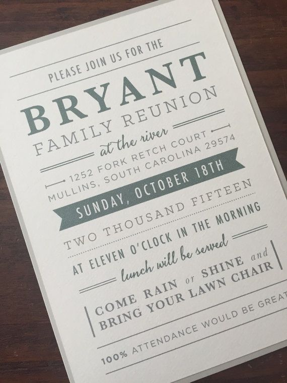 Family Reunion Invitation \/\/ Simple and Traditional by AMGDesignCo - family reunion invitation template
