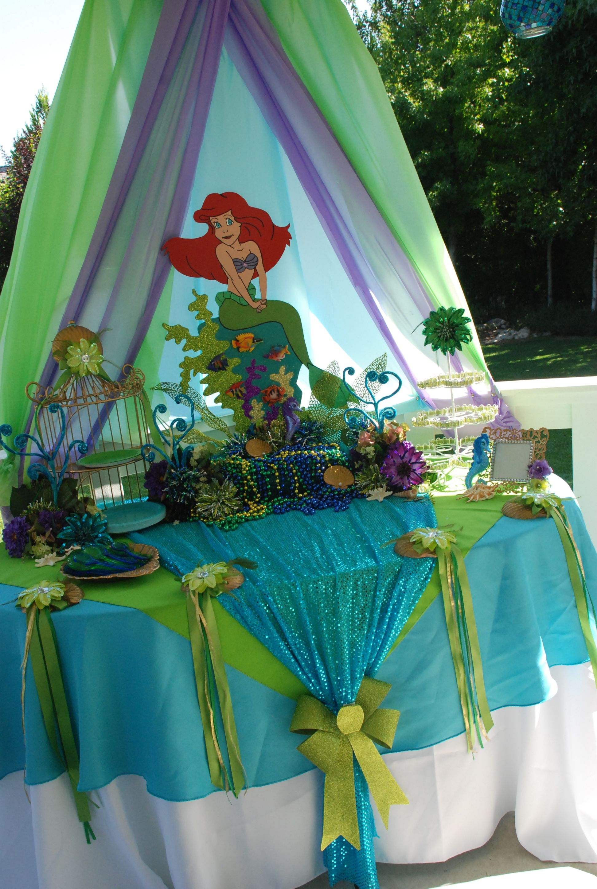 Little Mermaid theme cake table display designed by  Wonderland Party Props : little mermaid tent - memphite.com