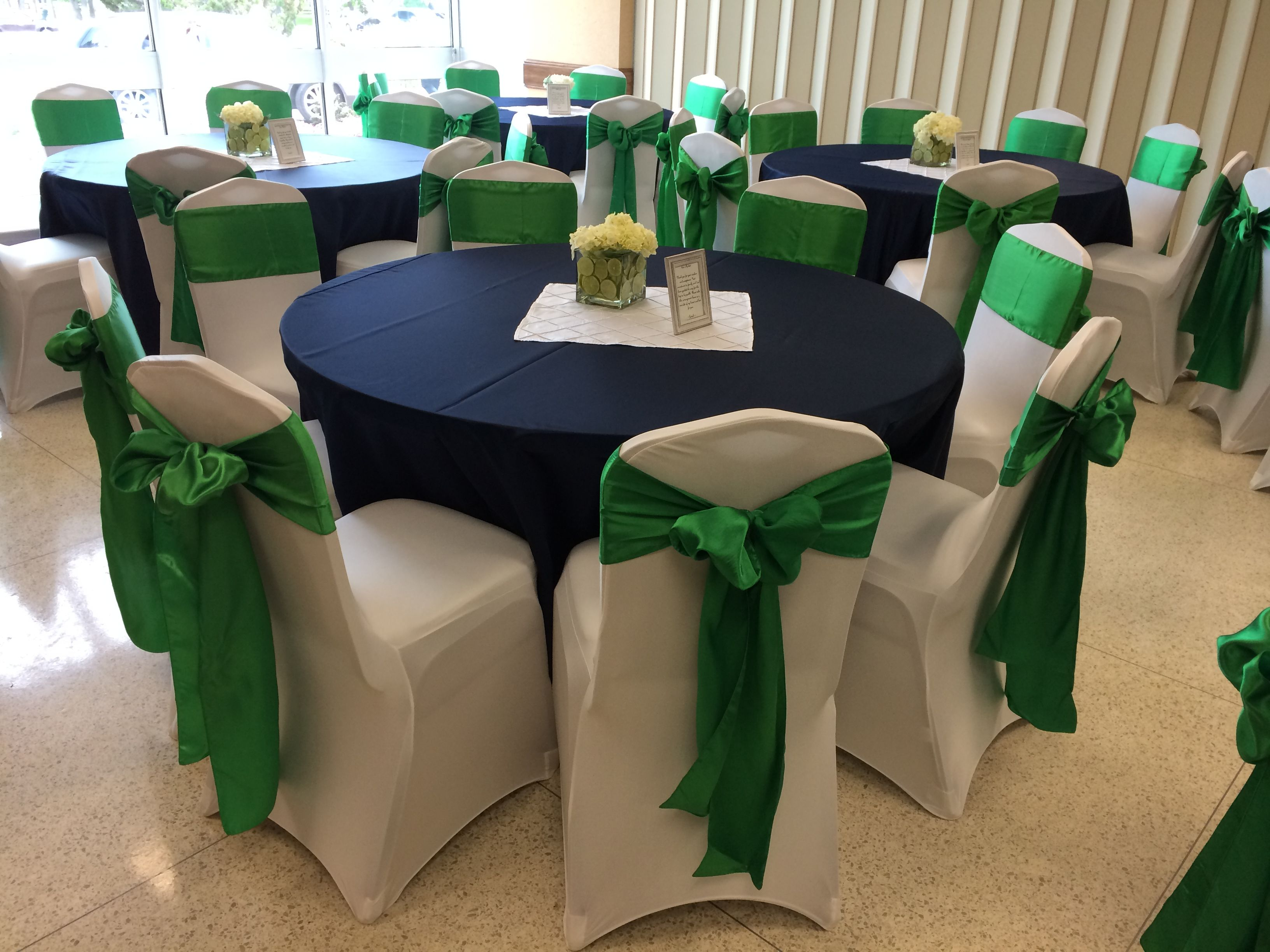 Green Chair Covers Navy Blue Lamour Tablecloths White Spandex Chair Covers