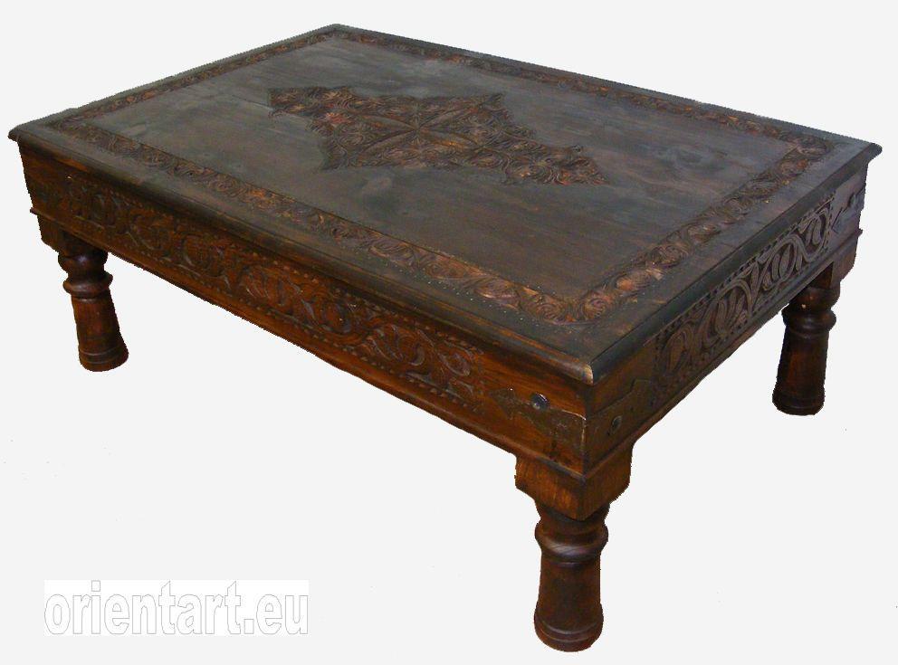 120x80 Cm Antik Look Wohnzimmertisch Orient Teetisch Tisch Couchtisch Nuristan
