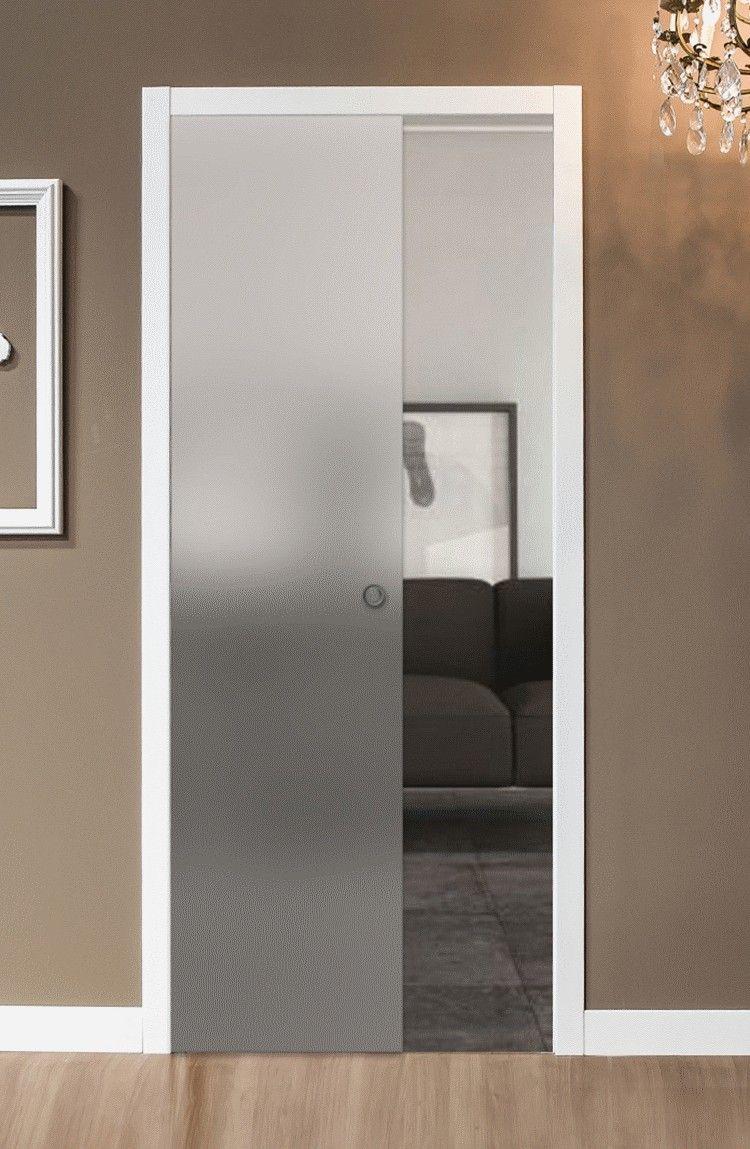 Porte Con Vetro Satinato porta a scrigno scomparsa in vetro satinato da 60-70-80-90 x