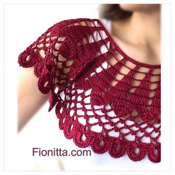 Crochet cherry collar by Fionitta; with pattern | Crochet bolero ...