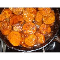 Southern Candied Sweet Potatoes. Brown sugar, cinnamon and nutmeg. The Two Sisters' were huge so cut smaller else wasteful.