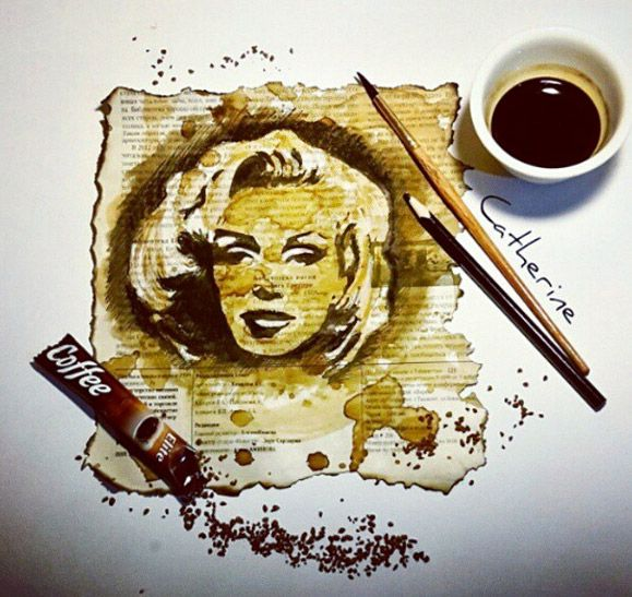 Marilyn Monroe portrait painted from coffee by @catherin777!  / This image first pinned to Marilyn Monroe art board here: http://pinterest.com/fairbanksgrafix/marilyn-monroe-art/ #Art #MarilynMonroe