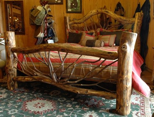 log cabin bed. I want one and will make a beautiful quilt to go with it!