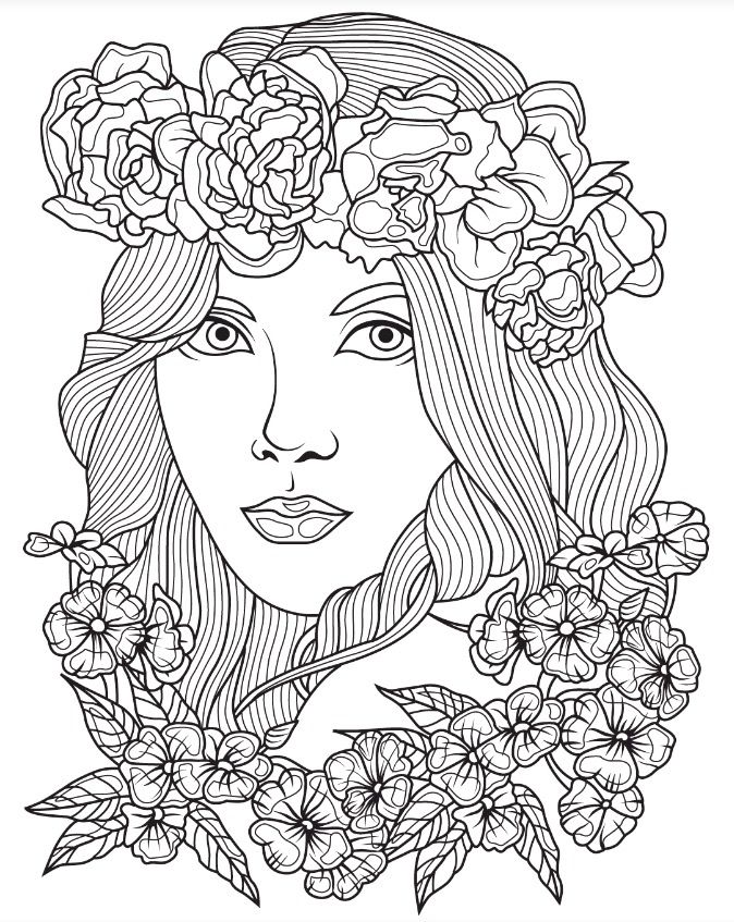 Beautiful Faces coloring page Colorish App free