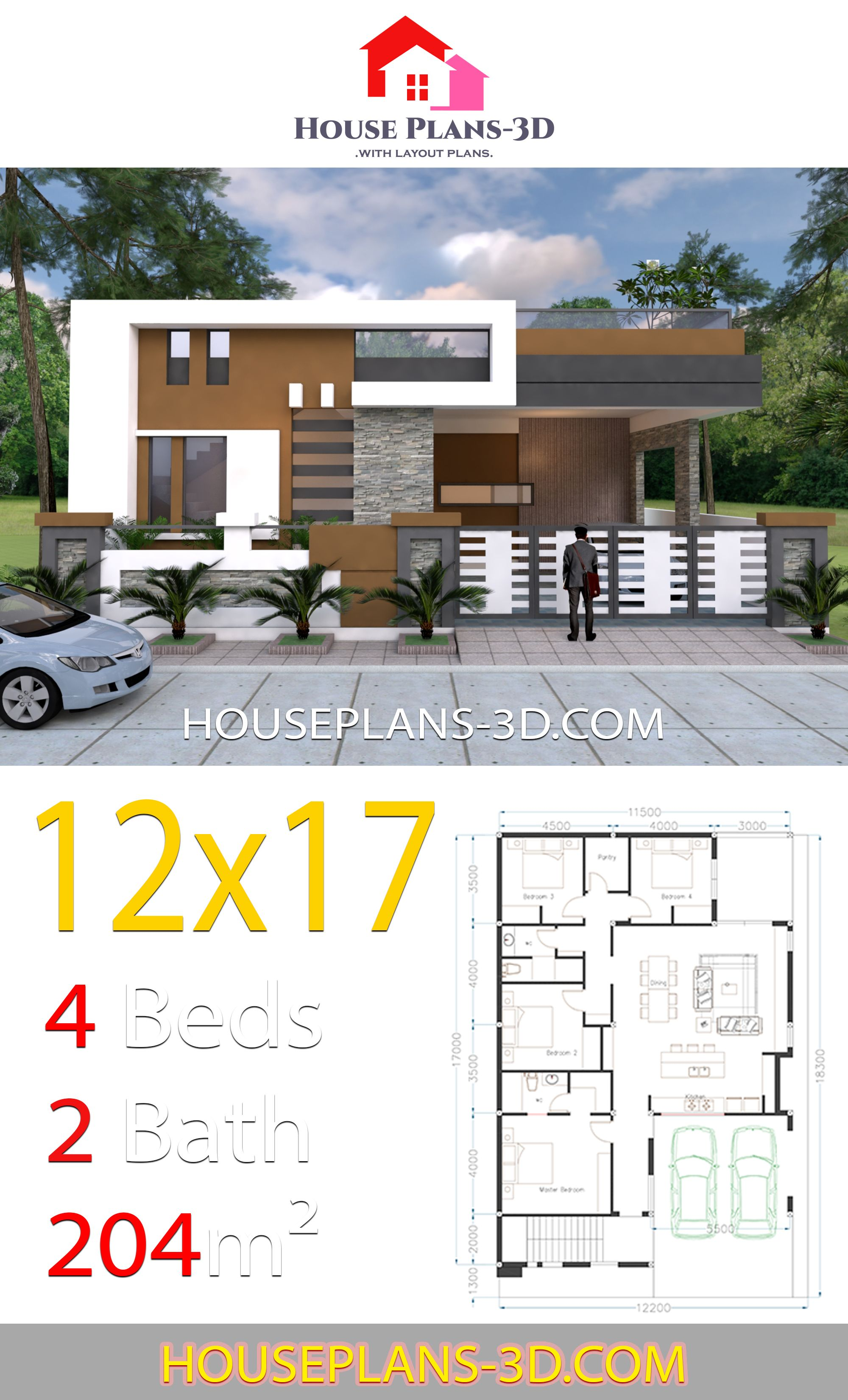 House Design 12 17 With 4 Bedrooms Terrace Roof In 2020 Diy House Plans House Construction Plan Family House Plans