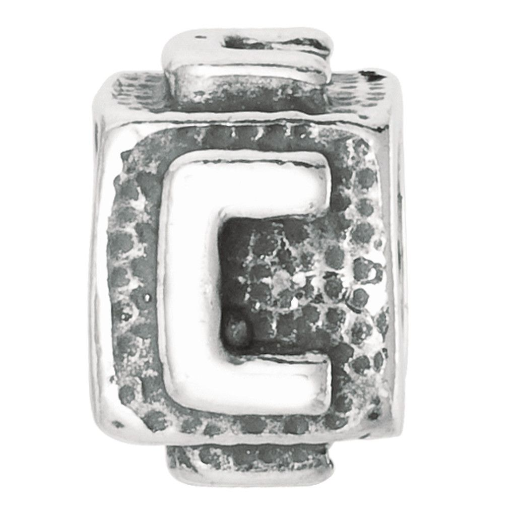 Silver With Oxidized Finish Block Style Letter C On Textured