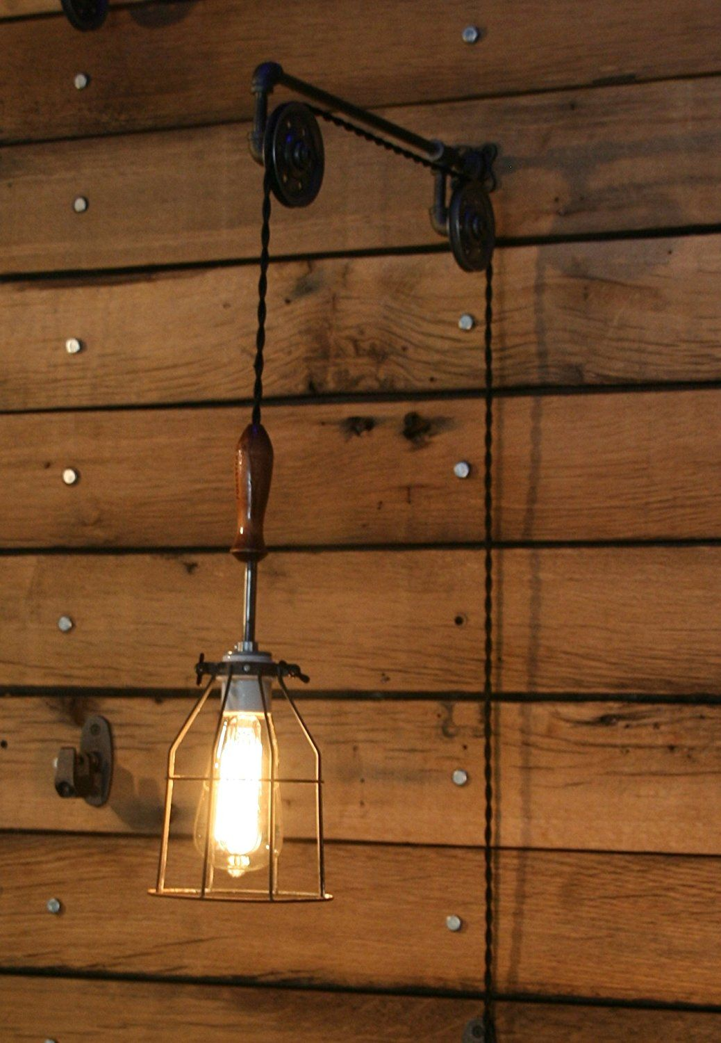 Pulley Wall Mount With Industrial Cage Light And Wooden Handle Pendant Light By Industrial Rewind Amaz Industrial Cage Light Cage Light Pulley Wall Light