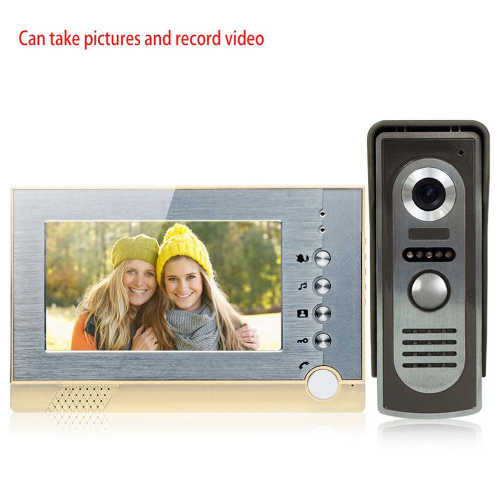 Mountainone 9 Inch Wireless Video Doorbell Video Tape With European Standard Plug Infrared Rain Intercom System Black Security & Protection silver Cheapest Price From Our Site