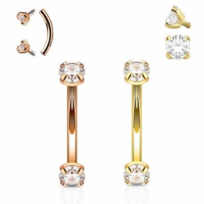 025a7ef60f5 16G Internal Threaded Prong-Setting CZ Curved Barbell for Rook ...