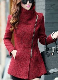 Hayley- Love this Jacket! Love the Zipper! Love the Color! Red Asymmetrical Zipper Tweed Coat Winter Fashion.