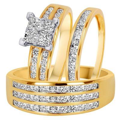1 5 8 Carat T W Diamond Trio Matching Wedding Ring Set 14k Yellow Gold From My Trio Ri Matching Wedding Ring Sets Couple Wedding Rings Affordable Wedding Ring