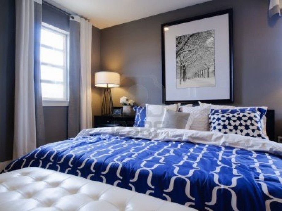 Modern Master Bedroom With Blue White Decoration Ideas