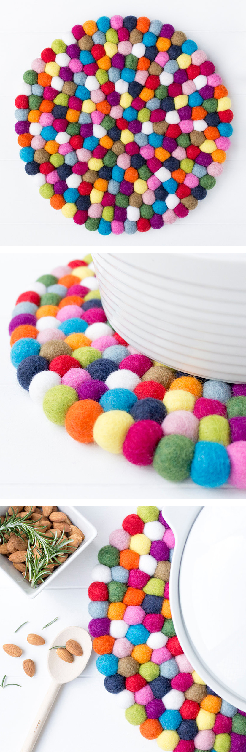 Felt Ball Placemat. 30cm Dining Wool Placemat. Centerpiece Placemat. Multicolor. Modern Dining Decor. Large Trivet Placemat. Wedding Parties