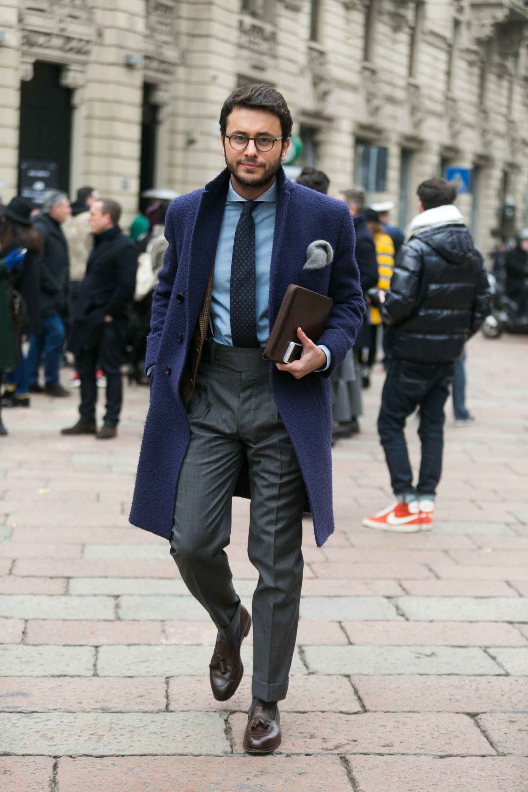 6b594eb29a Fashion Week Street Style: Thick Scarves, Shearling Coats, and  Blanket-Sized Wraps: The Daily Details: Blog