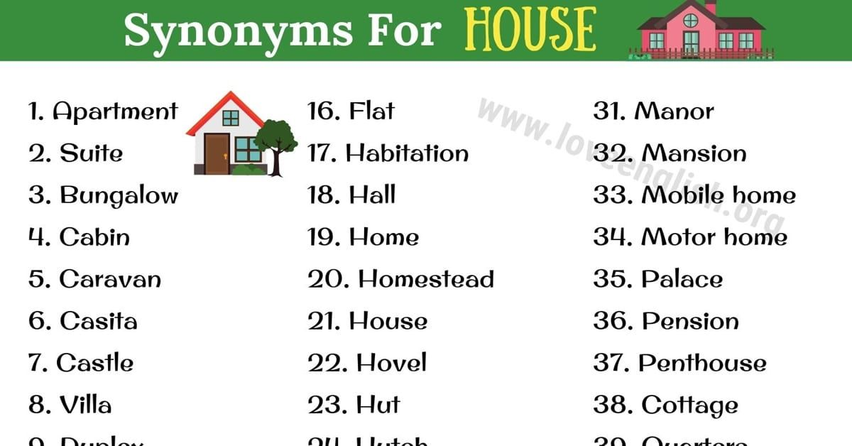In This Article We Learn Some Common Synonyms For House In English Below Is A List Of House Synonyms For Esl Students House Syno Words English Words Synonym