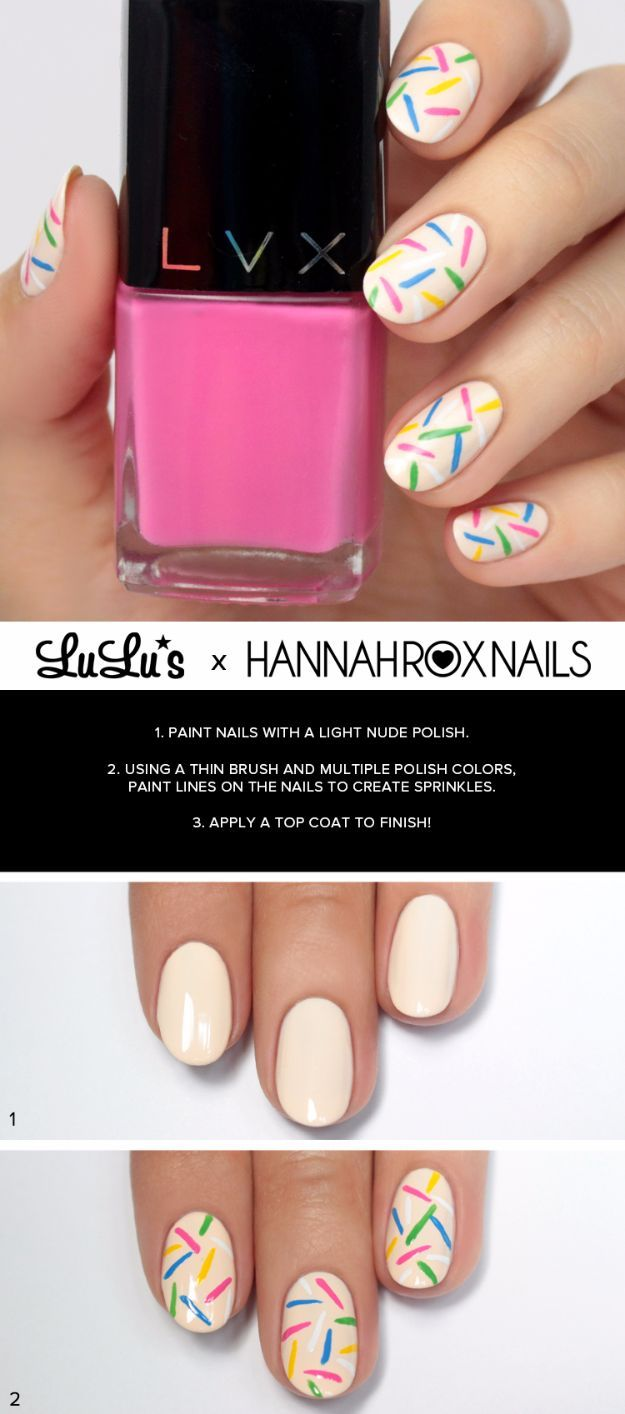 Easy Ways To Paint Nails   Rainbow Sprinkles Nails   Quick Tips And Tricks  For Manicures