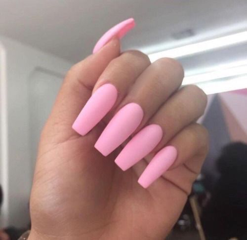 Long Pink Acrylic Nails Tumblr In 2020 Pink Acrylic Nails Matte Pink Nails Barbie Pink Nails