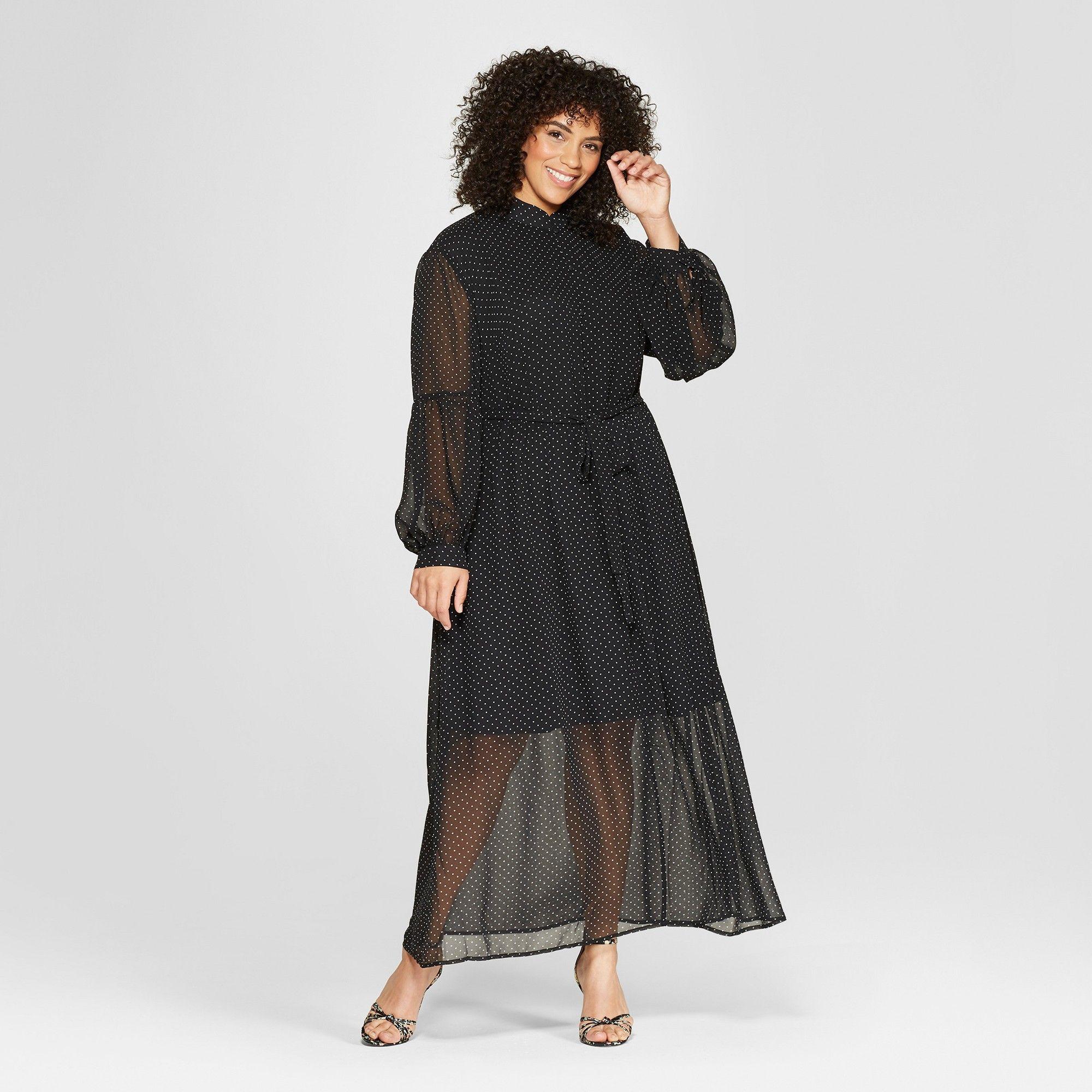 567ca6bdb12 Women s Plus Size Polka Dot Long Sleeve Belted Maxi Dress - Who What Wear  Black White 2X