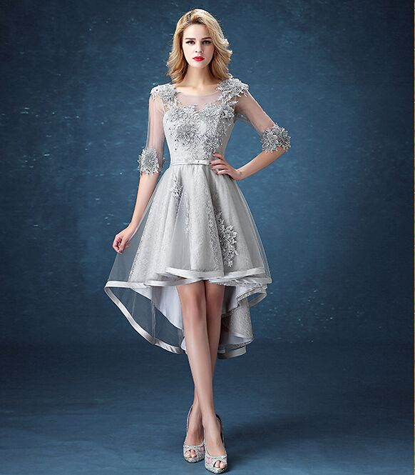 1cf806d5b3 2016 Simple Bungurdy Green Silver Lace High Low Prom Dresses 2016 ...