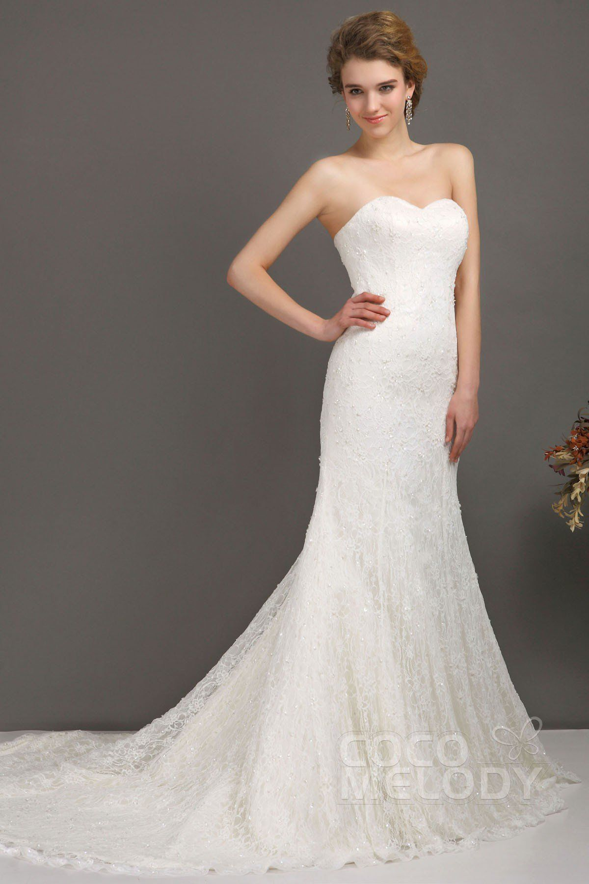 Charming trumpetmermaid sweetheart natural court train lace ivory
