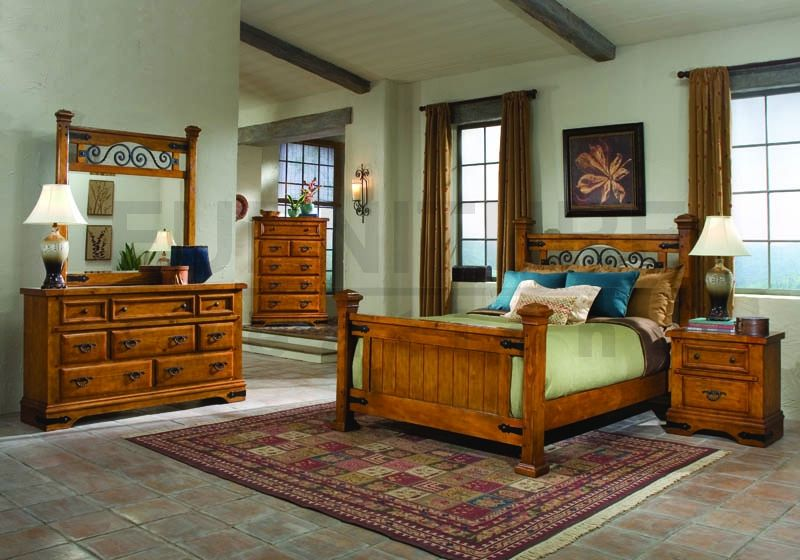 5 Pc William Bedroom Pine Wood Cal King Bedroom Set Kyana New
