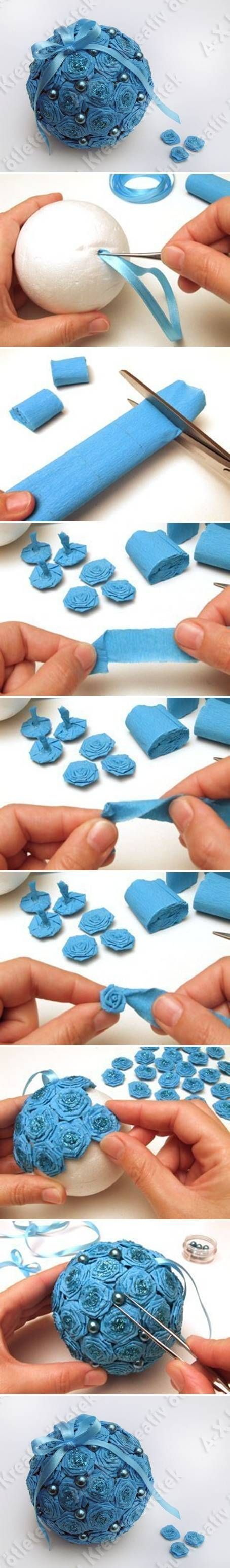 DIY Crepe Paper Flower Ball ... delightful in blue ... dozens of small rolled roses on a styrofoam ball ...