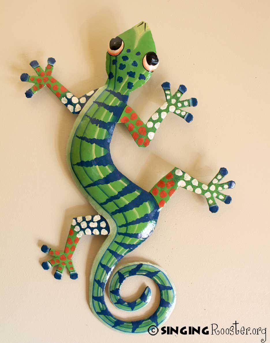 Haitian art large metal gecko green navy navy green for Gecko wall art
