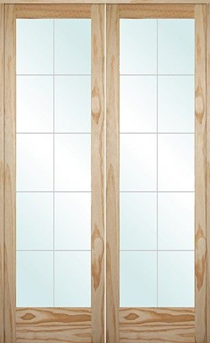 Interior Solid Wood Pine French Doors With V Grooved Cherbourg