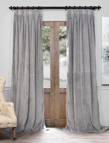 Signature Silver Grey Pleated Blackout Velvet Curtain Velvet Curtains Pleated Curtains Faux Silk Curtains