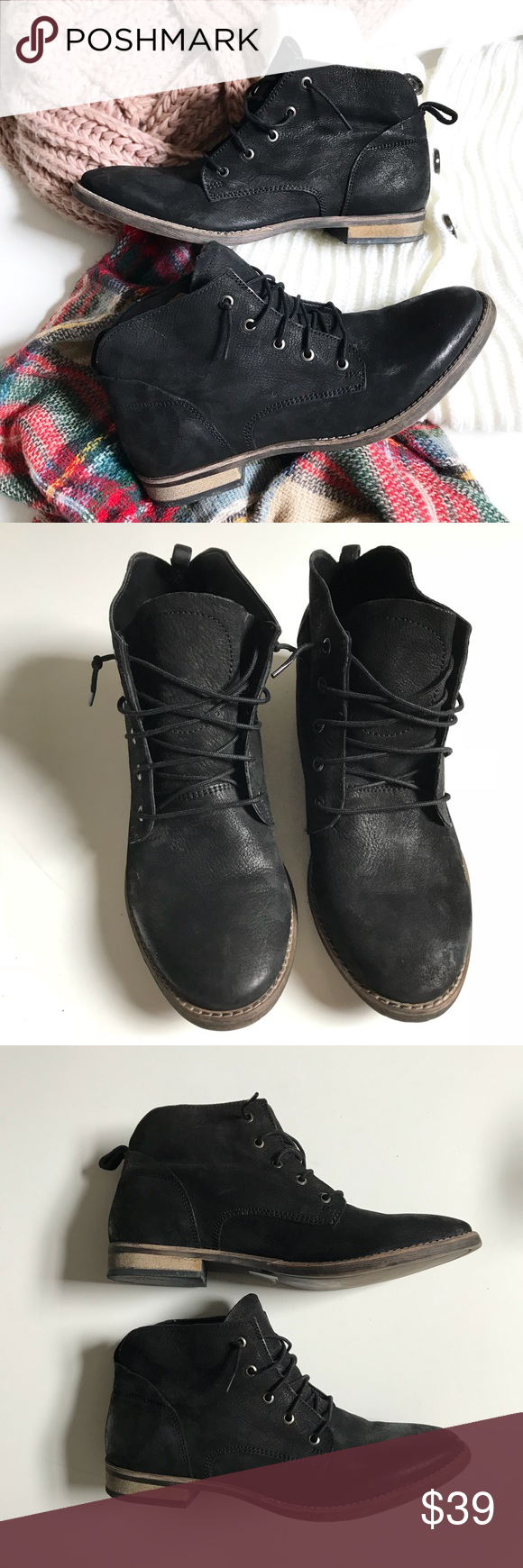 """06316ab531 Diba Leather Black Lace Up Ankle Boots """"Eli"""" 10M Diba black leather lace up  ankle boots. Eli 91101. Great casual"""