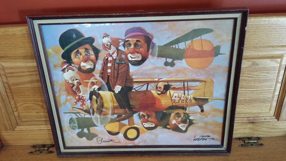 Chuck Oberstein Signed Print Seven 7 Clowns Airplane 21 ...