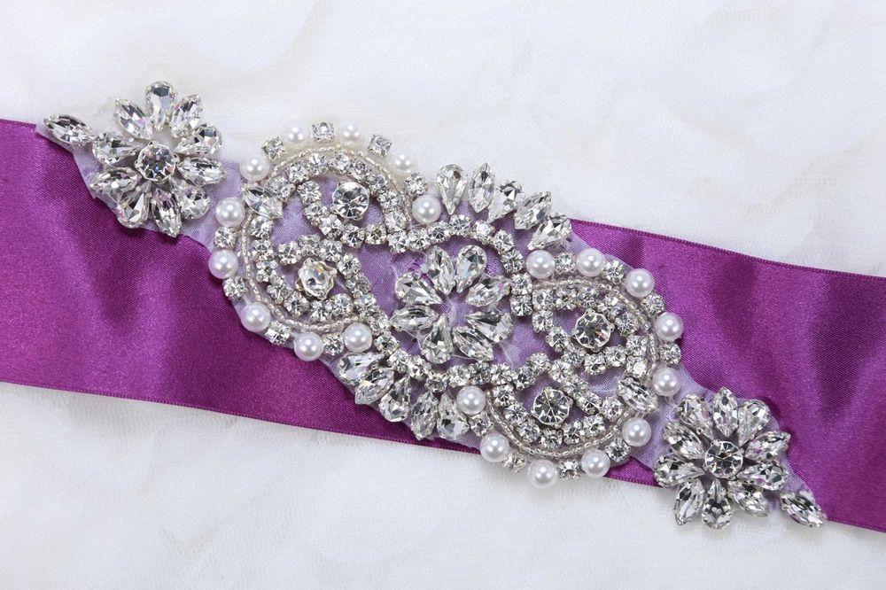 Motif Flower Faux Pearl Rhinestone Crystal Beaded Bridal Headband Applique DIY