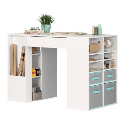 South Shore Crea Pure White Counter Height Craft Table With Storage 7550729 The Home Depot Craft Tables With Storage Craft Room Tables Craft Table