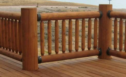 Log home deck railing view lots of deck railing ideas http for Log home decks