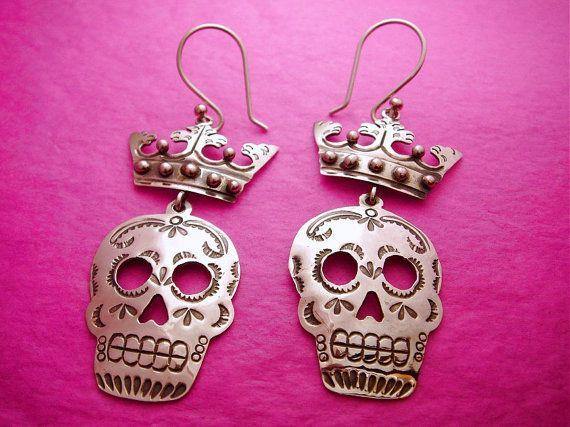 Dia de los Muertos Sugar skull Dangle Earrings