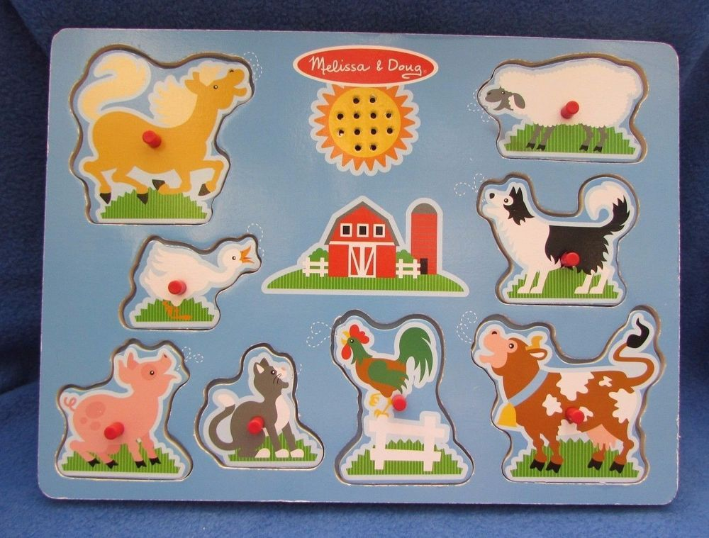 Melissa Doug 8 Farm Animal Sound Wooden Peg Puzzle 7915