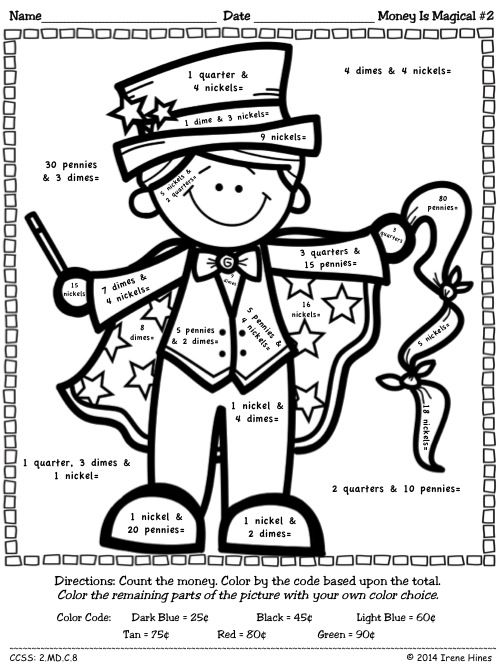 money is magical color by the code math puzzles to practice money nickel coloring sheet