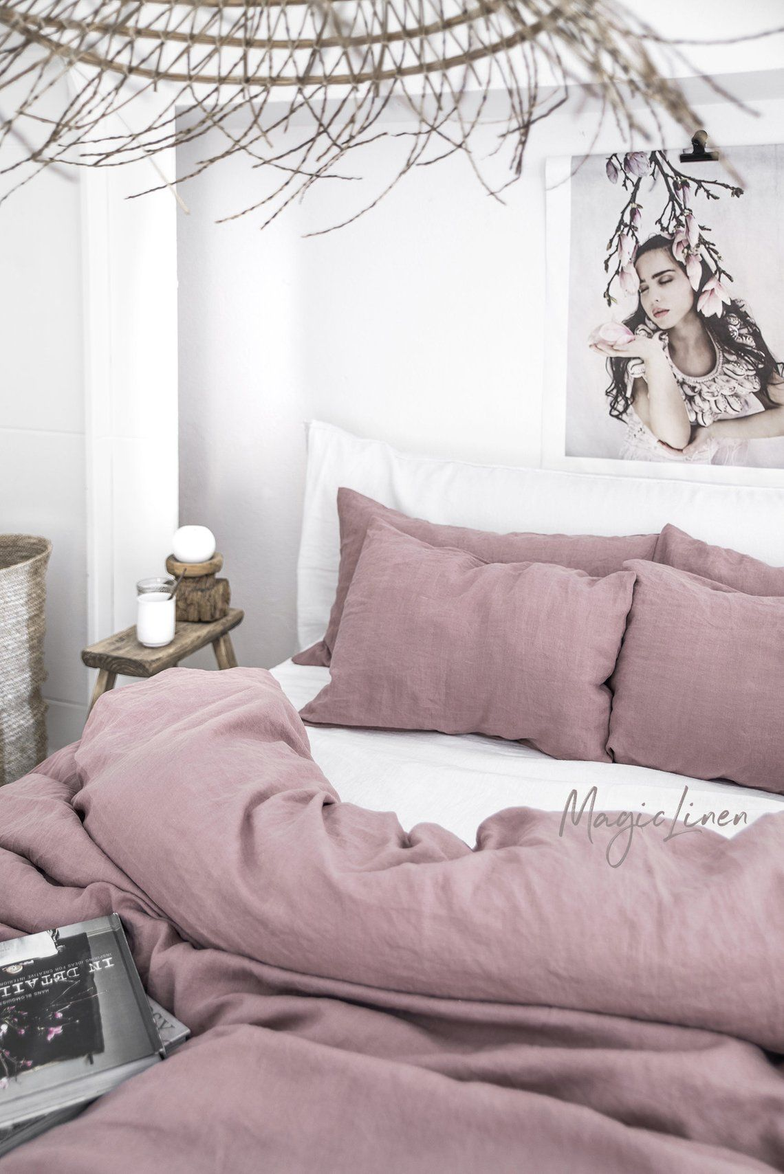 Couverture De Couette En Lin Dans Woodrose Dusty Pink Litiere